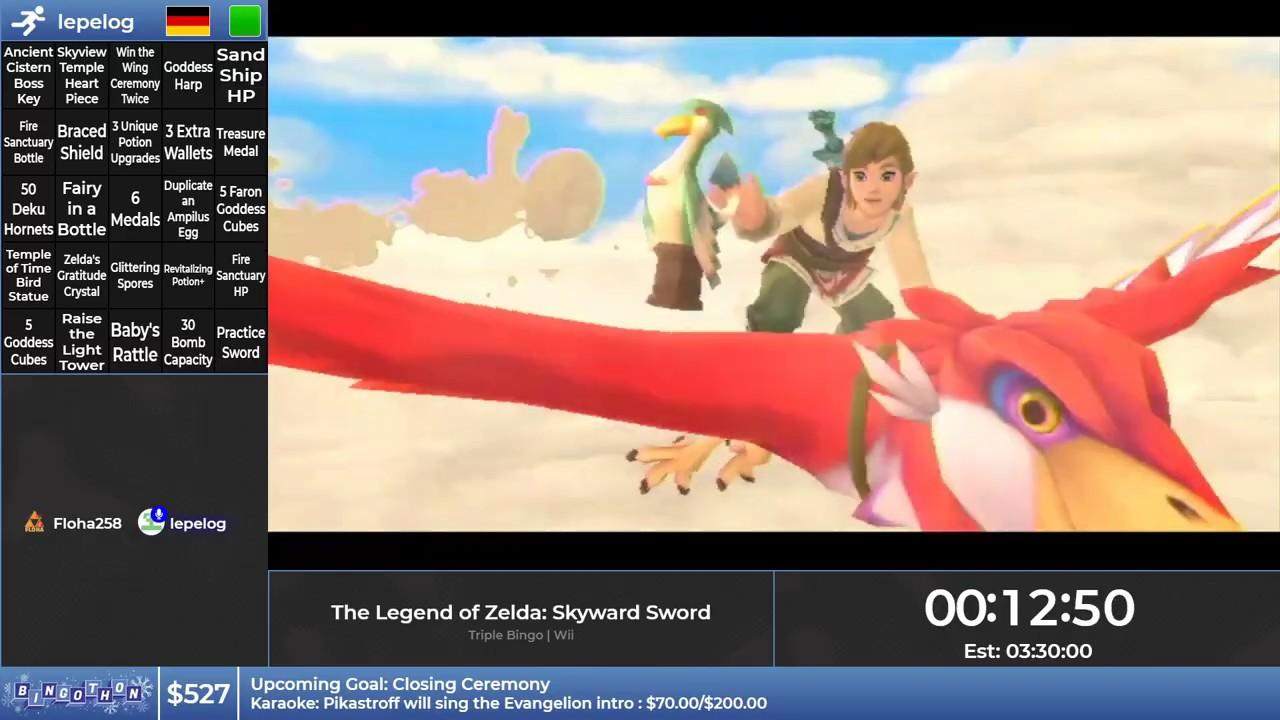 Bingothon Winter 2019: The Legend of Zelda: Skyward Sword - Triple Bingo by lepelog